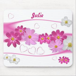 Fleurs roses et blanches Mousepad Tapis De Souris