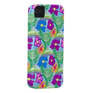 Fleurs roses et bleues de nouvelle caisse mignonne étuis iPhone 4