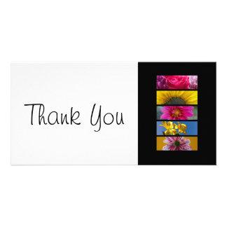 Fleurs roses et jaunes de carte mince de Merci - Cartes De Vœux Avec Photo