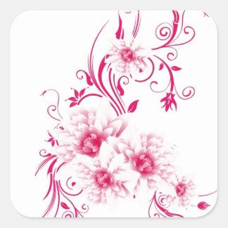 Fleurs roses lunatiques sticker carré