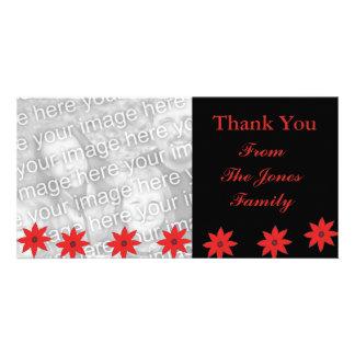 fleurs rouges carte avec photo