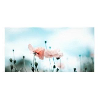 Fleurs rouges de pavot cartes de vœux avec photo