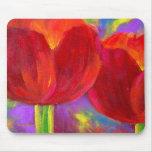 Fleurs rouges de tulipes peignant l'art - multi tapis de souris