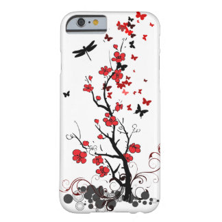 Fleurs rouges et noires coque barely there iPhone 6