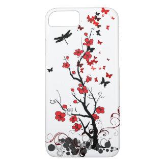 Fleurs rouges et noires coque iPhone 7