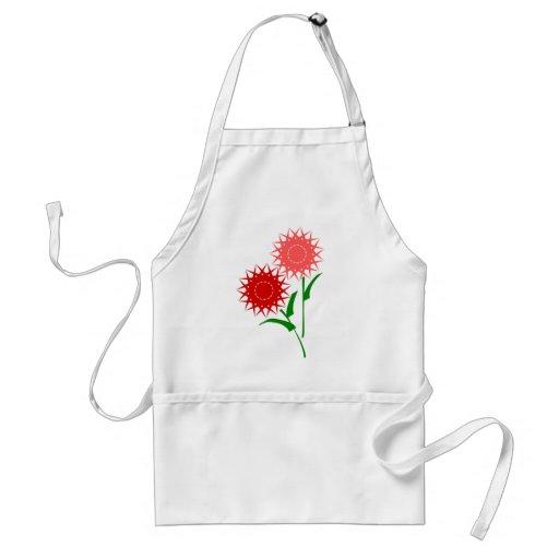 Fleurs rouges tabliers