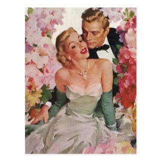 Fleurs vintages de nouveaux mariés de marié de jeu carte postale