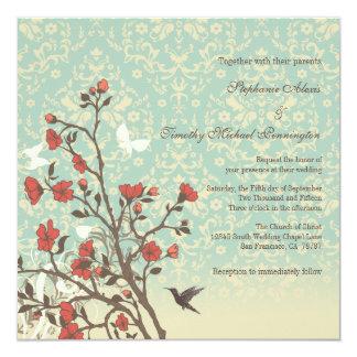 Fleurs vintages, oiseau + invitation de mariage