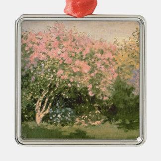 Flieder Claude Monets | im Sun, 1873 Quadratisches Silberfarbenes Ornament