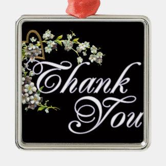 Flieder danken Ihnen auf Schwarzem Quadratisches Silberfarbenes Ornament