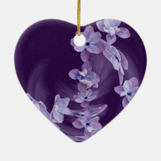 Flieder im Kreis Keramik Herz-Ornament