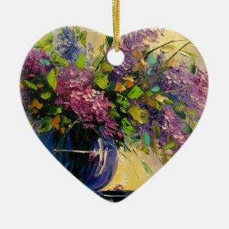 Flieder in einem Vase Keramik Herz-Ornament
