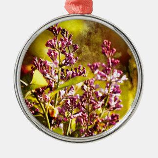 Flieder Rundes Silberfarbenes Ornament