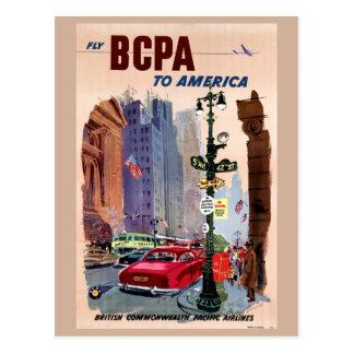 Fliege BCPA zu Vintagem Plakat Amerikas wieder Postkarte