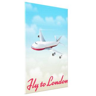 Fliege zum London-Flugzeugplakat Leinwanddruck