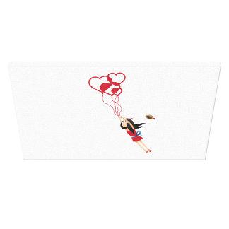 Fliegen-Ballon-Mädchen Gespannte Galeriedrucke