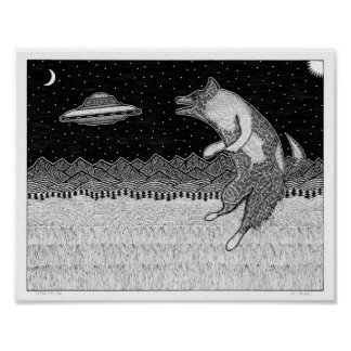 Fliegen-Disc-Hund Poster