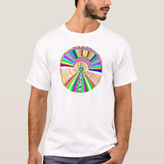 FLIEGEN Disc - Rad-Kreis-Regenbogen-Muster T-Shirt