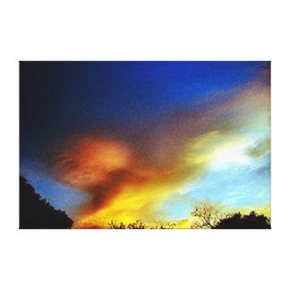 Fliegen Eagle am Sonnenuntergang-Wand-Segeltuch Gespannter Galerie Druck