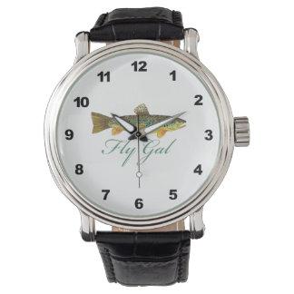 Fliegen-Fischen-Frauen Armbanduhr