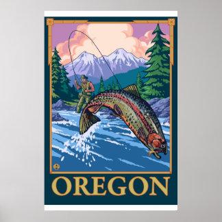 Fliegen-Fischen-Szene - Oregon Poster