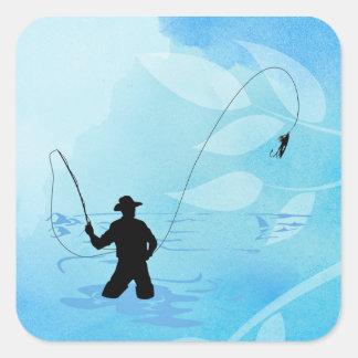 Fliegen-Fischer-Fischen-Aufkleber Quadratischer Aufkleber