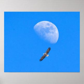 Fliegen hinter den Mond Poster