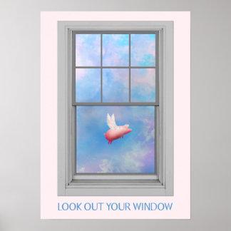 Fliegen Schwein-Blick heraus Ihr Fenster Poster