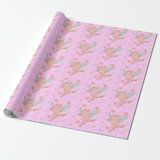 Fliegen-Schwein u. rosa Herzen Geschenkpapier
