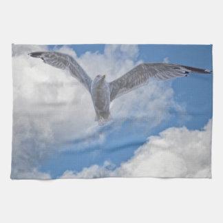 Fliegen-Seemöve u. -wolken Geschirrtuch