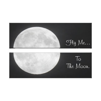 Fliegen Sie mich zum Mond - Vollmond-aufgeteilten Leinwanddruck