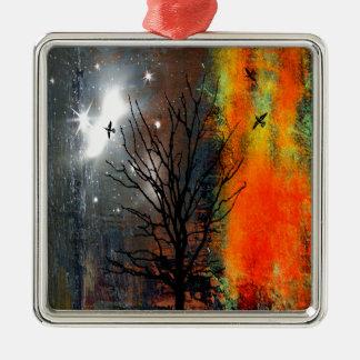 Fliegen-Vögel und sternenklare Himmel-Landschaft Silbernes Ornament