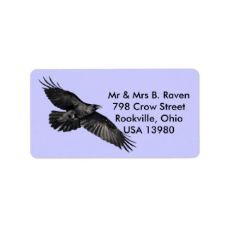 Fliegende schwarze Rabe Vogel-Liebhaber Aufkleber Adressaufkleber