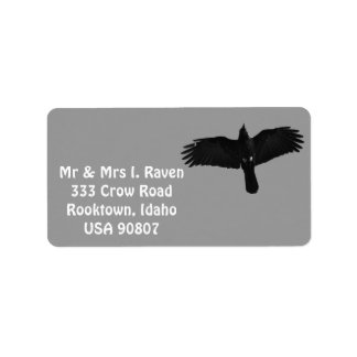 Fliegende schwarze Raben-Foto-Aufkleber Adressaufkleber