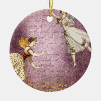 Fliegende Vintage Feen auf Lila und Gold Keramik Ornament