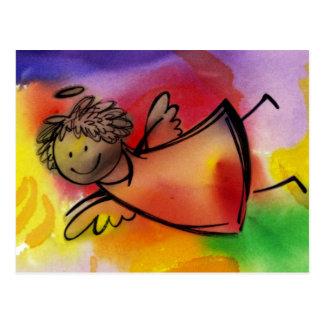 Fliegender bunter Engel Postkarte