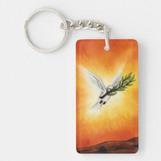 fliegender weißer Frieden tauchte mit einem Zweig Schlüsselanhänger