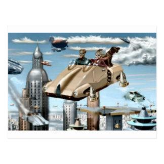 Fliegendes Retro zukünftiges Auto Postkarten