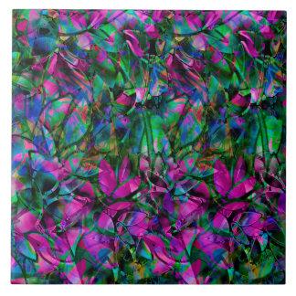 Fliesen-abstraktes beflecktes mit Blumenglas Fliese