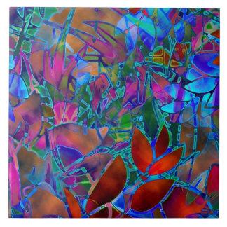 Fliesen-abstraktes beflecktes mit Blumenglas Keramikfliese