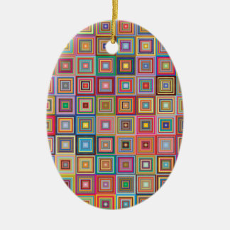 Flippige geometrische Oma-Art-Quadrate Keramik Ornament