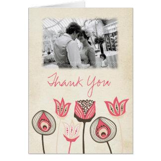 Flippige Hochzeits-danken das korallenrote Mitteilungskarte