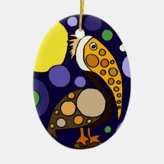 Flippige Pelikan-und Kreis-Strand-Kunst Ovales Keramik Ornament