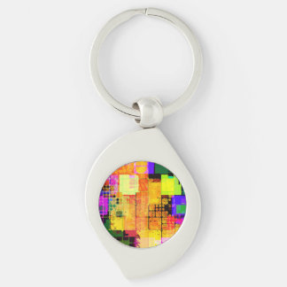 Flippiger geometrischer mehrfarbiger Entwurf Schlüsselanhänger