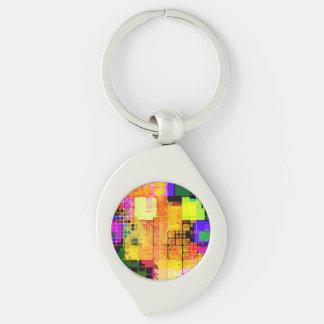 Flippiger geometrischer mehrfarbiger Entwurf Silberfarbener Wirbel Schlüsselanhänger