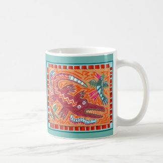 Flippiger Volkskunst-Alligator Kaffeetasse