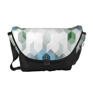 Flippiges blaues Würfel-Grafikdesign Kurier Taschen