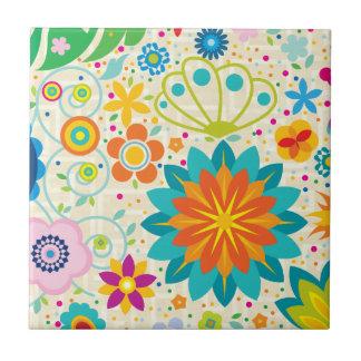 Flippiges Blumen Kleine Quadratische Fliese