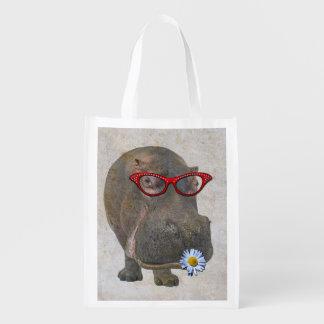 Flippiges Flusspferd-wiederverwendbare Tasche! Wiederverwendbare Einkaufstasche
