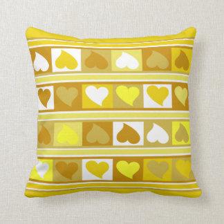 Flippiges Herz- und Quadrat| Gelb Tanweiß Kissen